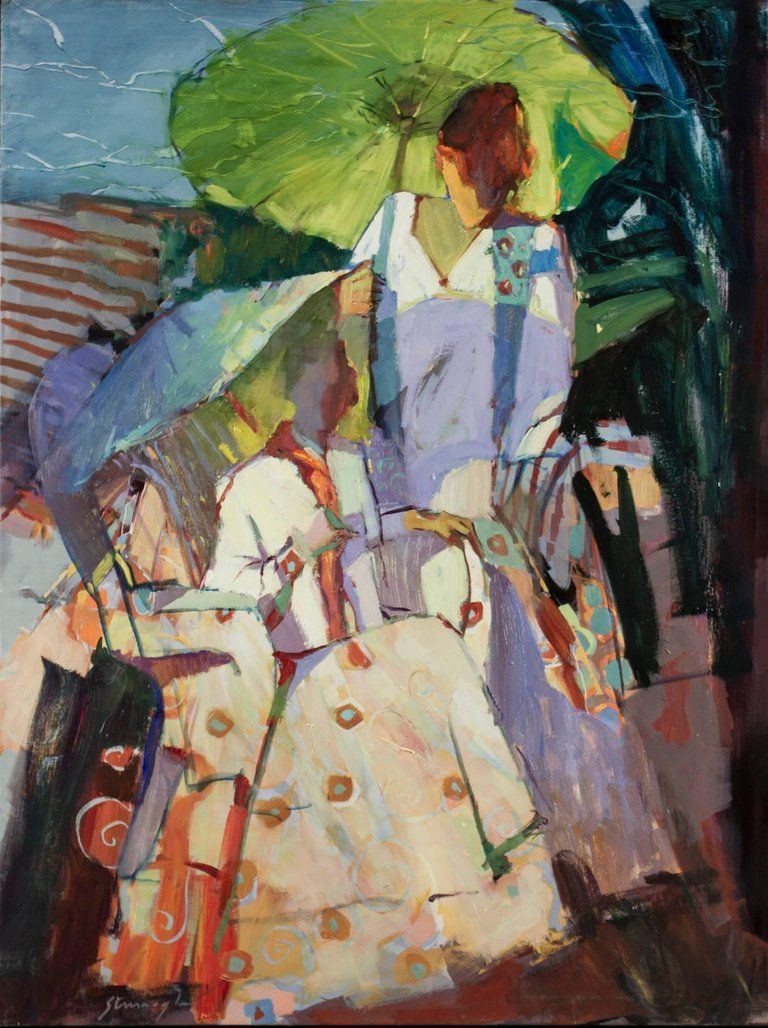 Michael Steirnagle Umbrella Abstraction Painting For Sale At 1stdibs Art Painting Figure Painting