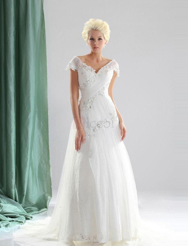 ❀ Appliques Pleating V-Neck Lace Wedding Dresses | Riccol ❤