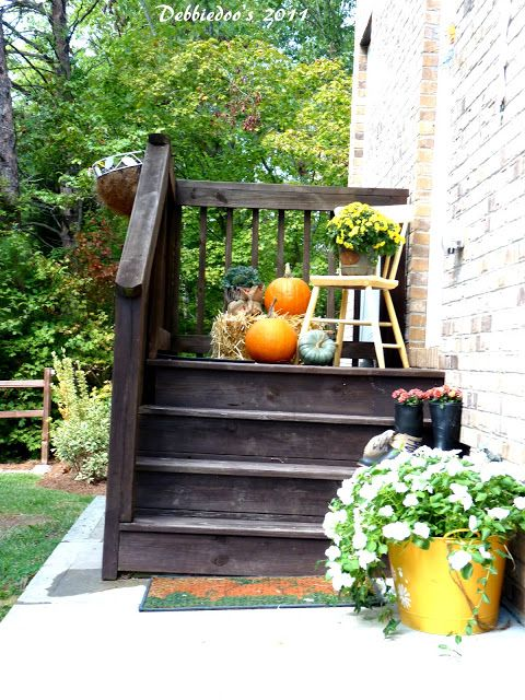 Fall decorating outdoors side entrance mud room. Warm welcome.