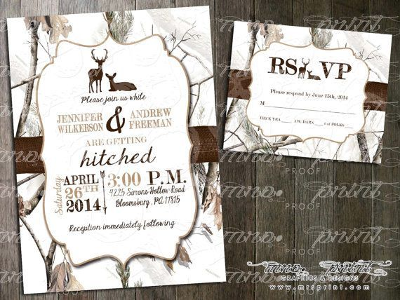 Wedding Invitation White Camo Invitations Deer