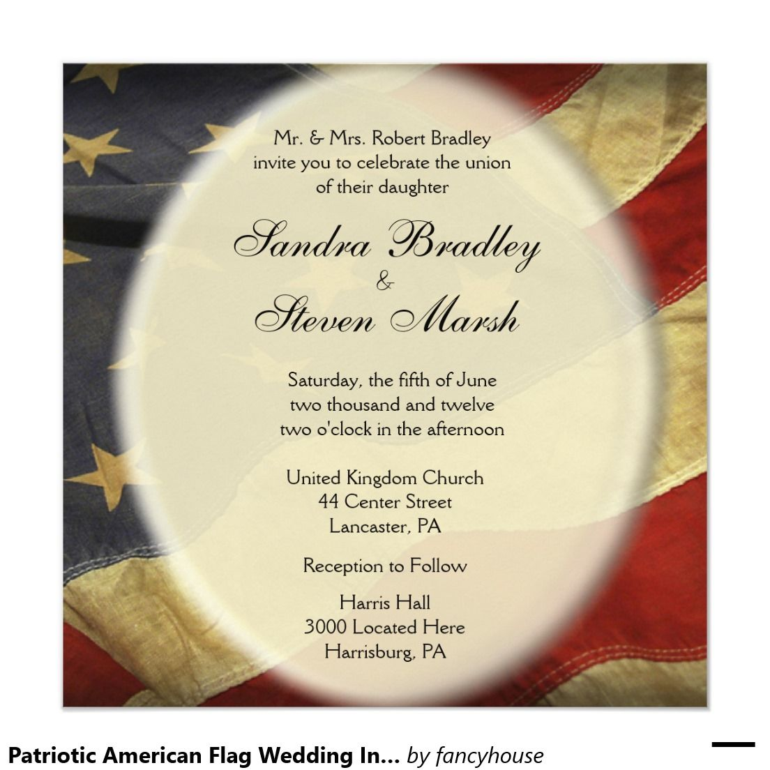 Patriotic American Flag Wedding Invitation | Military / July 4th ...