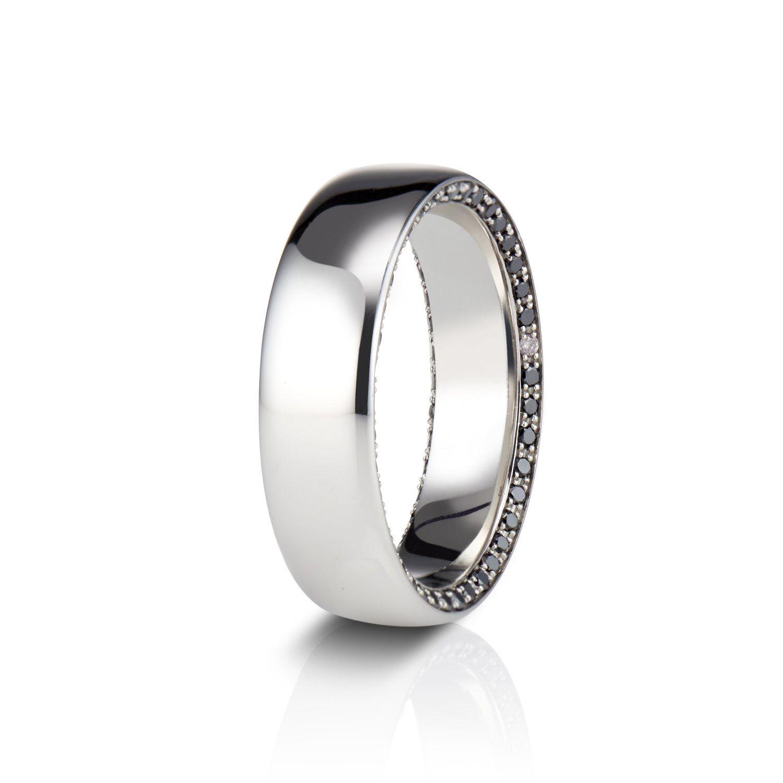 Hidden black diamond wedding band in platinum black
