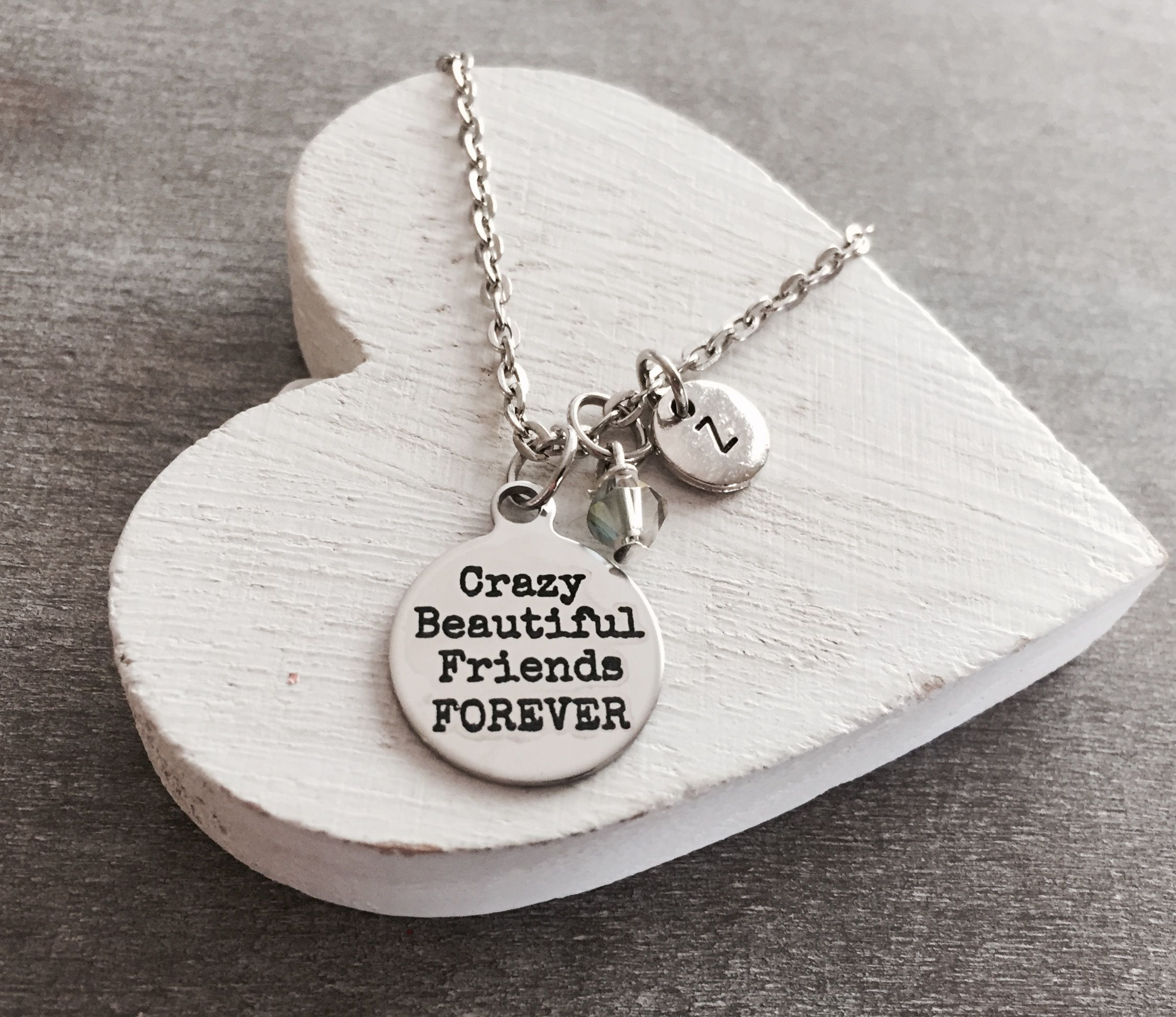 Crazy Beautiful Friends Forever Friendship Friend Best Gift Necklace Silver Charm By Sajolie