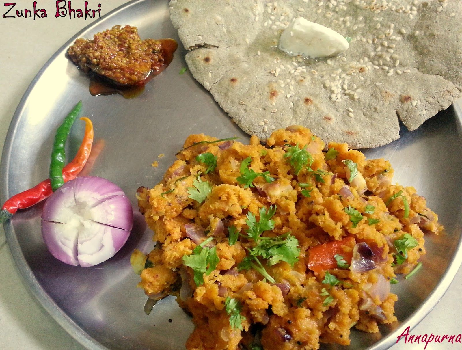 Zunka authentic maharashtrian recipe flat bread dishes and recipes zunka is a traditional maharashtrian dish which is usually paired with and tastes best with a thick flat bread made of bajra known as bh forumfinder Image collections