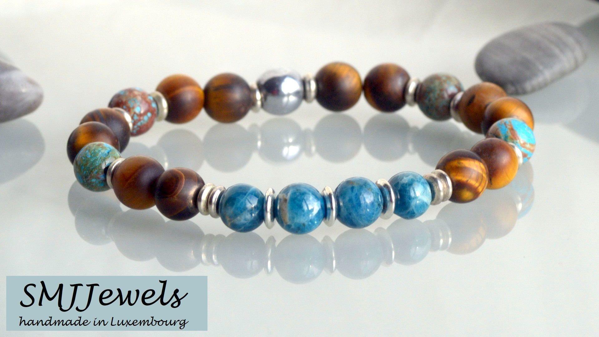 Red Tigers eye and Blue Apatite Beaded Gemstone Bracelet Men/'s   Unisex Bracelet Black Onyx