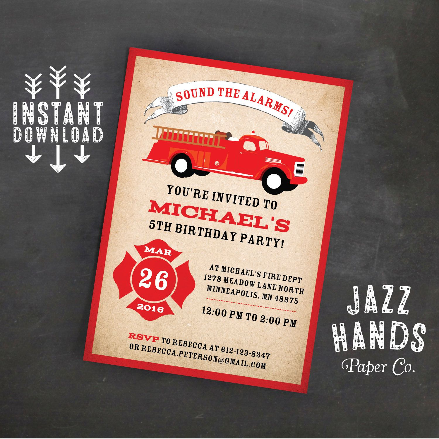 Fire Truck Birthday Invitation Template Diy Printable Firetruck