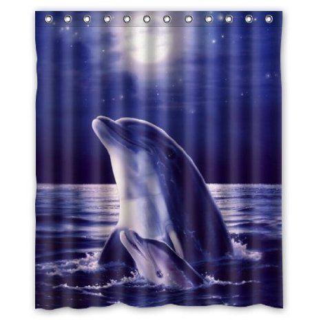 Sea Dolphin Waterproof Bathroom Shower Curtain 60 W X 72 H