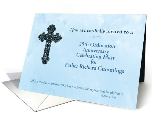 Invitation th custom ordination anniversary priest ornate cross
