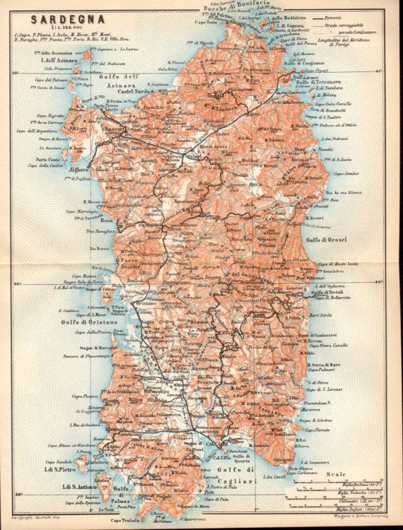 1908 Sardegna Antique Map Sardinia Sardigna Mediterranean Sea