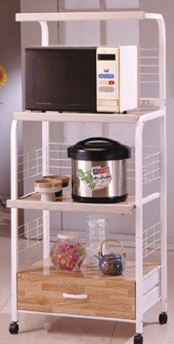 White Kitchen Rolling Microwave Cart With Strip