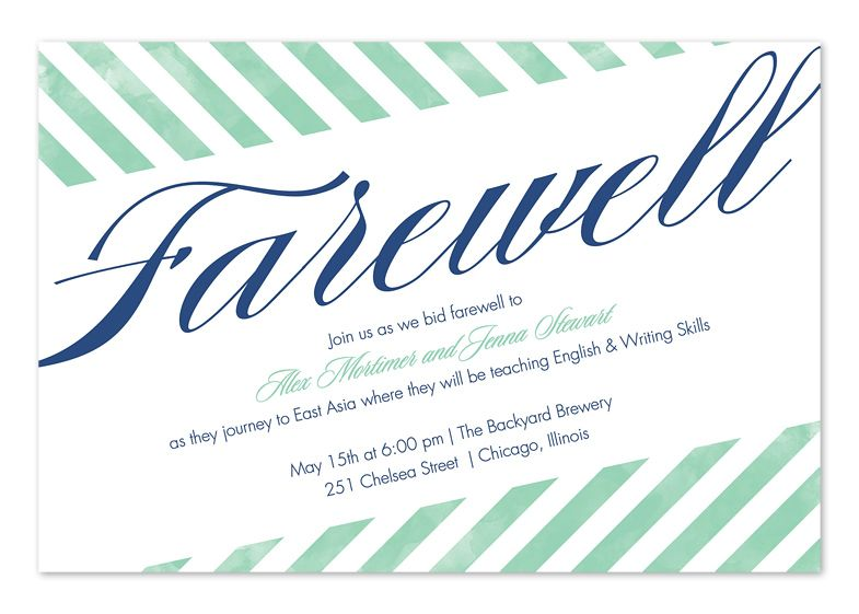 Farewell Stripes Party Invitations Going Away