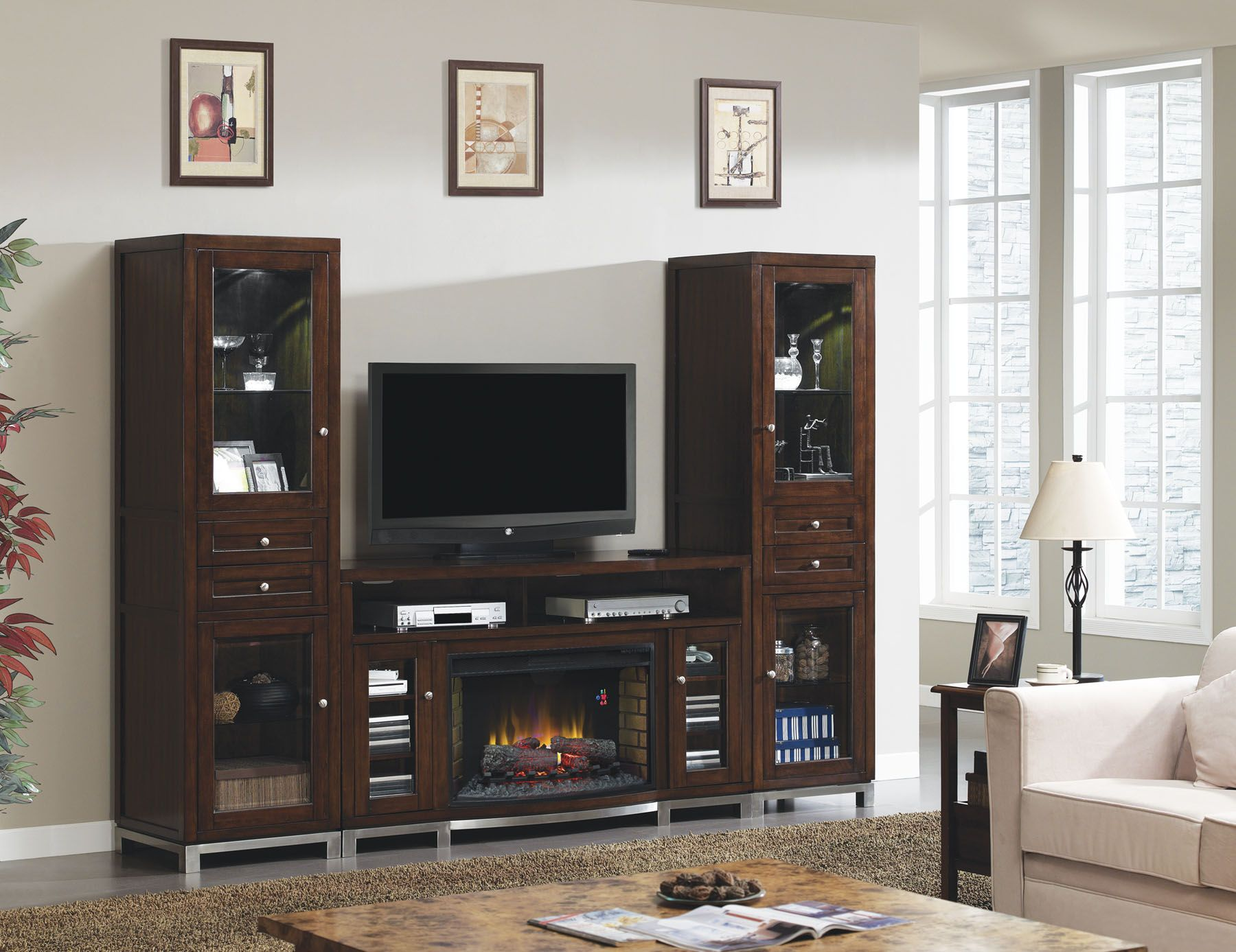 This Combination Includes The Classicflame Wesleyan Electric Fireplace Media Mantel And
