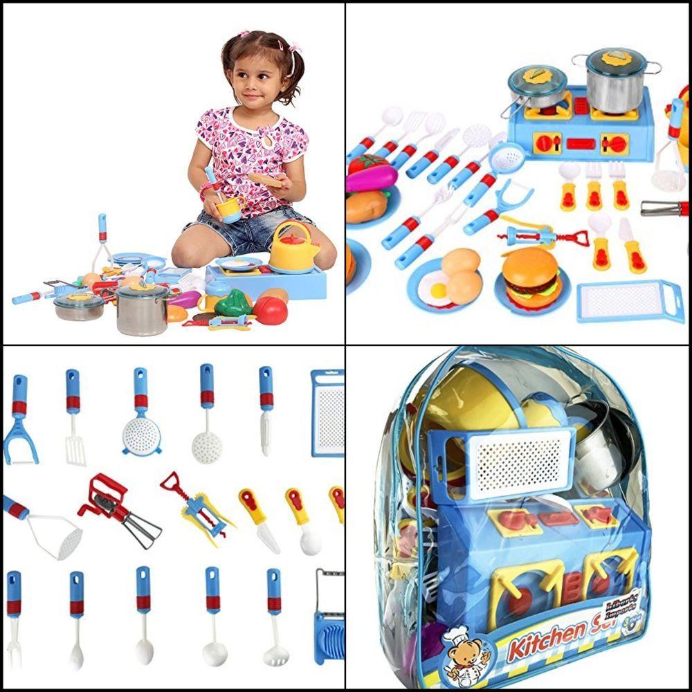 Pretend Kitchen Play Set for Kids Mini Stove Kitchen Appliance Food ...