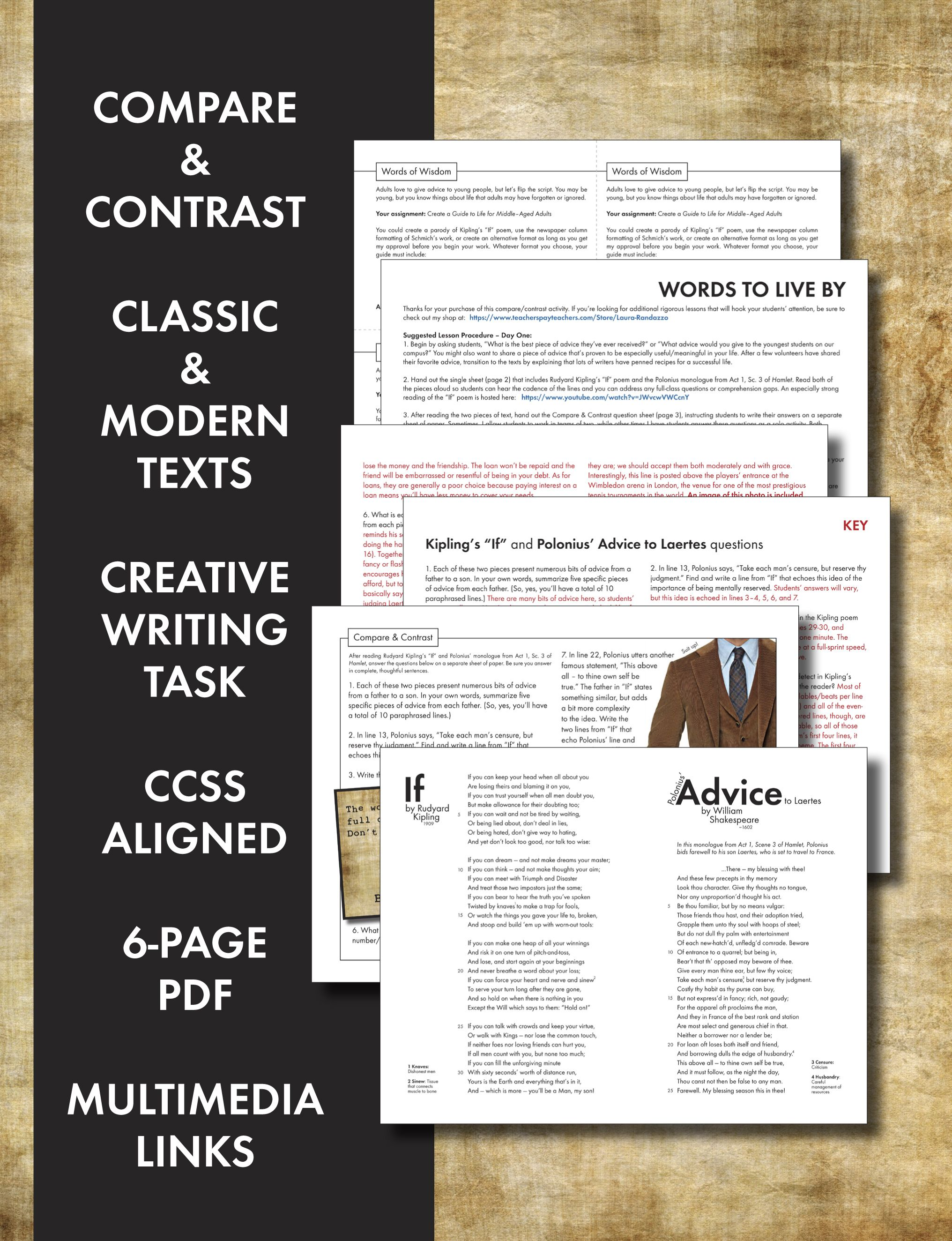 Compare Contrast Texts Poetry Drama Non Fiction In Ccss Lesson Fun Stuff Contrast Words Literary Analysis If Rudyard Kipling