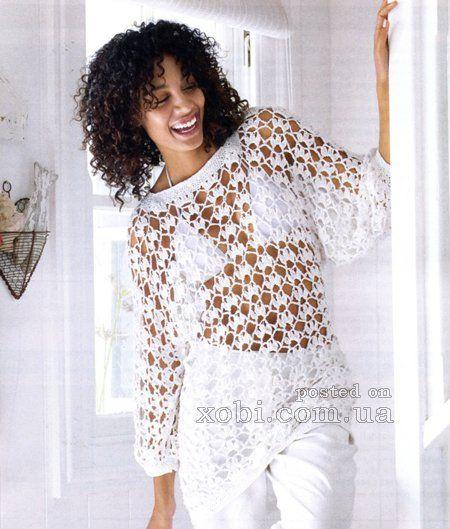 88a18bcfbb2 Женский вязаный крючком ажурный летний пуловер с описанием. Размеры  36-40.  Вам потребуется  700 г белой пряжи Gracia (70% хлопка