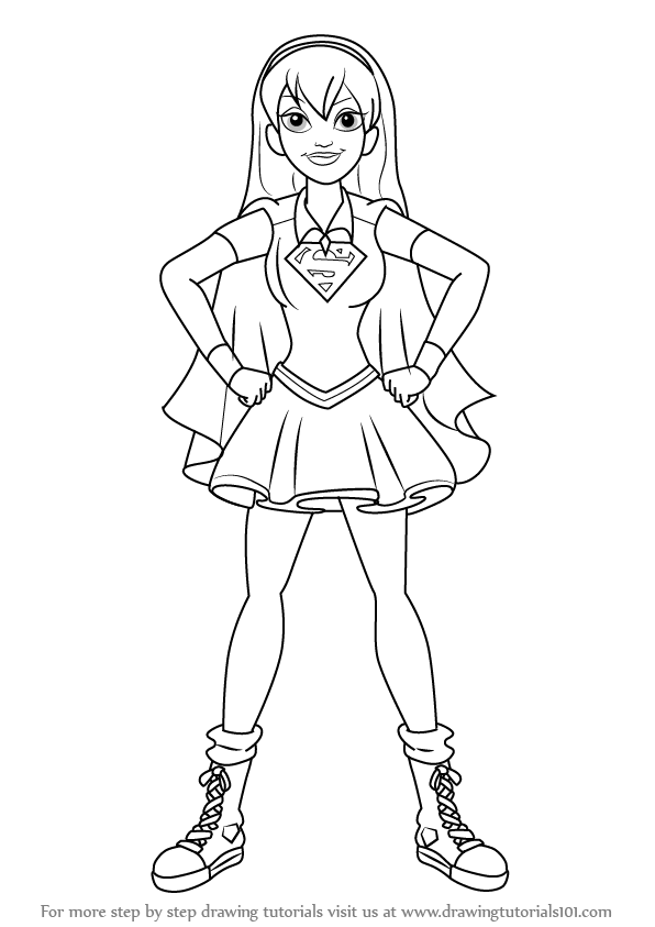 Step by Step How to Draw Supergirl from DC Super Hero Girls ...
