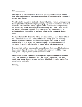 This Sample Customer Service Complaint Letter Cites A Rude