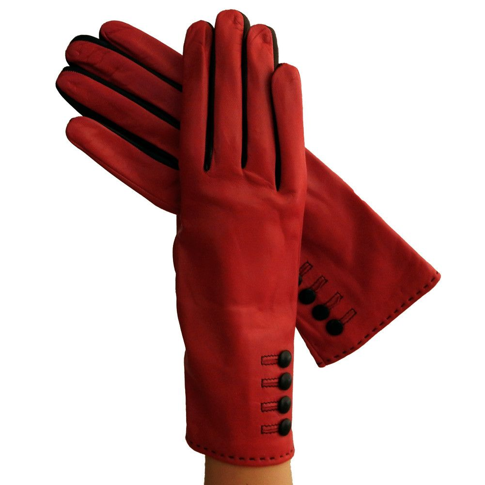 Black leather gloves with red buttons - Ferrari Red Black 3 Inch Leather Gloves W Contrasting Fourchettes 4 Leather Buttons