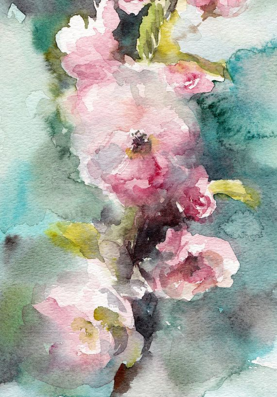 Cherry Blossoms Original Watercolor Painting by CanotStop