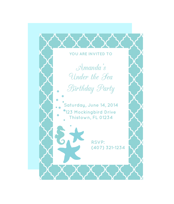 under the sea party invitation - Under The Sea Party Invitations