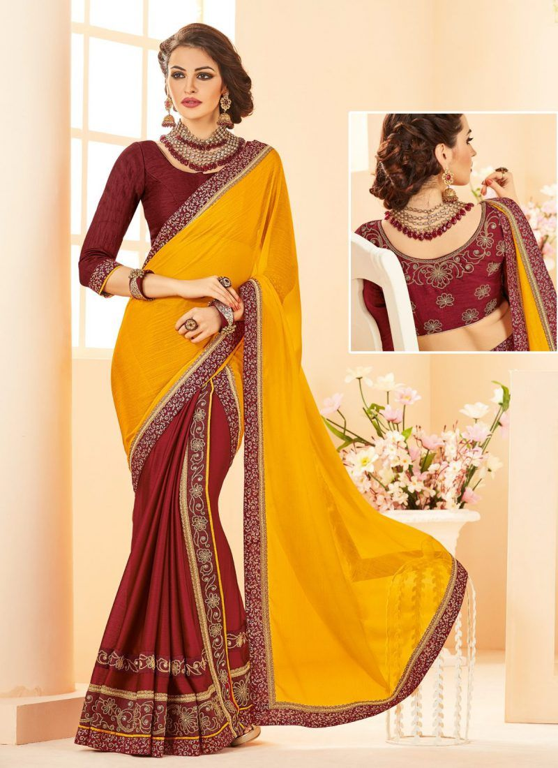 c2c751d518 Wearing This Gorgeous Yellow Color Georgette Saree | Sarees | Saree ...