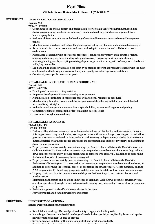 sales experience resume skills