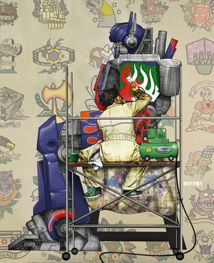 Norman Rockwell's The Tattoo Artist, by Marco D'Alfonso (Transformer send-up)