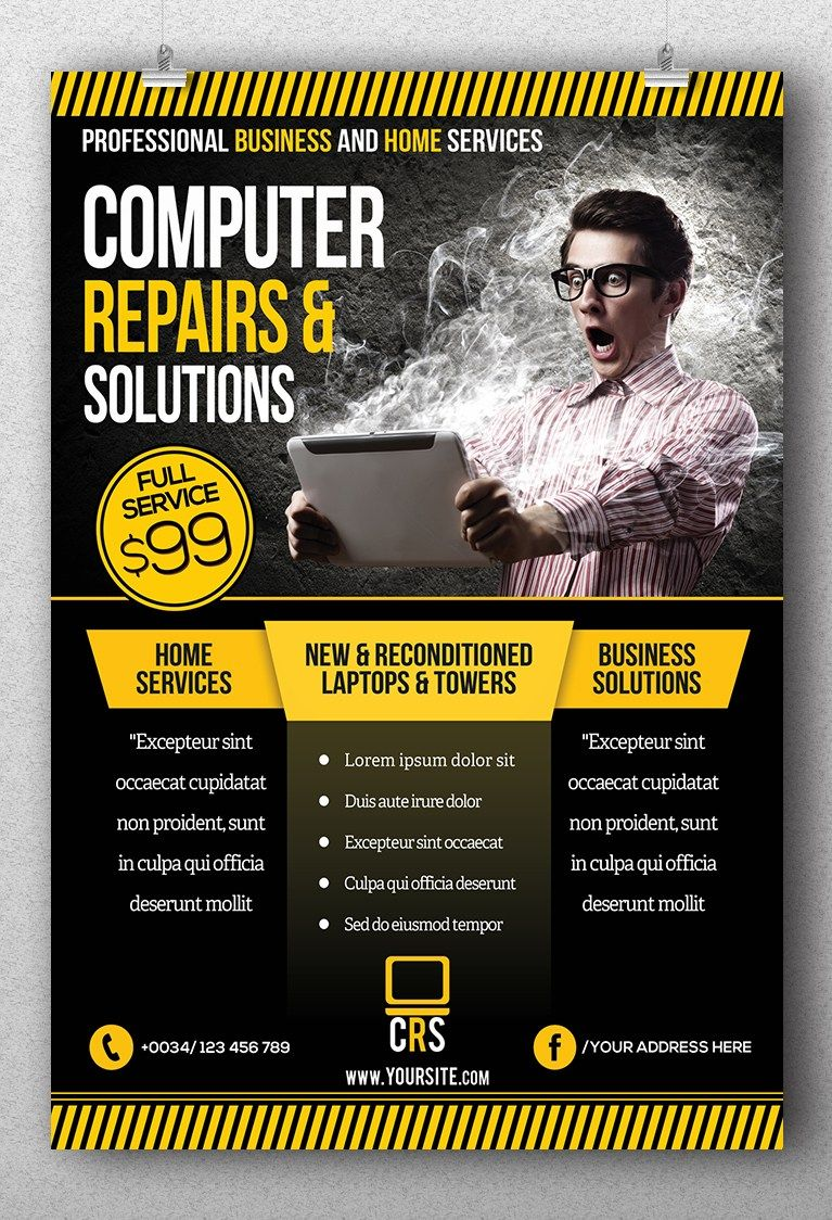 Computer Repair Business Flyer Template  New Morooka Lit Design