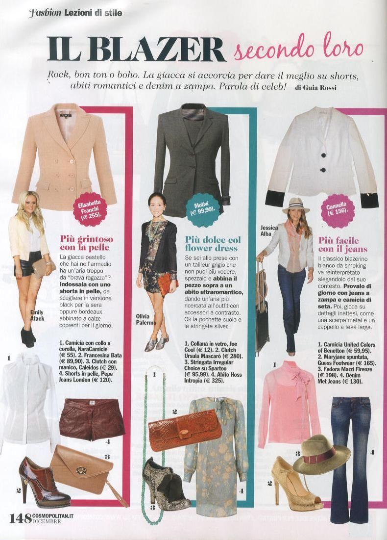 Blazer in versione rock: abbinalo con gli shorts e la envelope bag Caleidos, per un look grintoso - Cosmopolitan, dicembre 2012