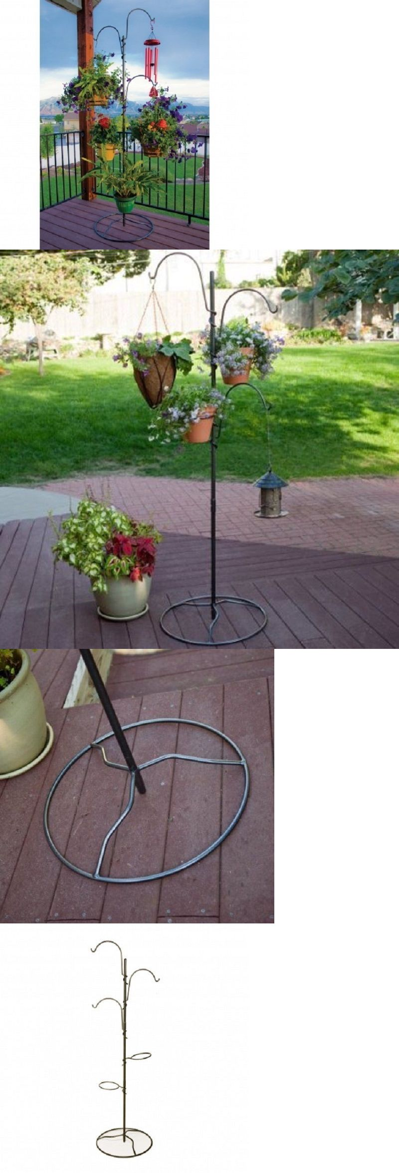 Plant Stands 29514: Hanging Plant Stand Flower Baskets Pots Balcony Deck  Patio Porch Outdoor Indoor