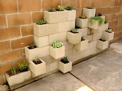 Cinder-Block Planter. You can make it any shape you like, and it ...