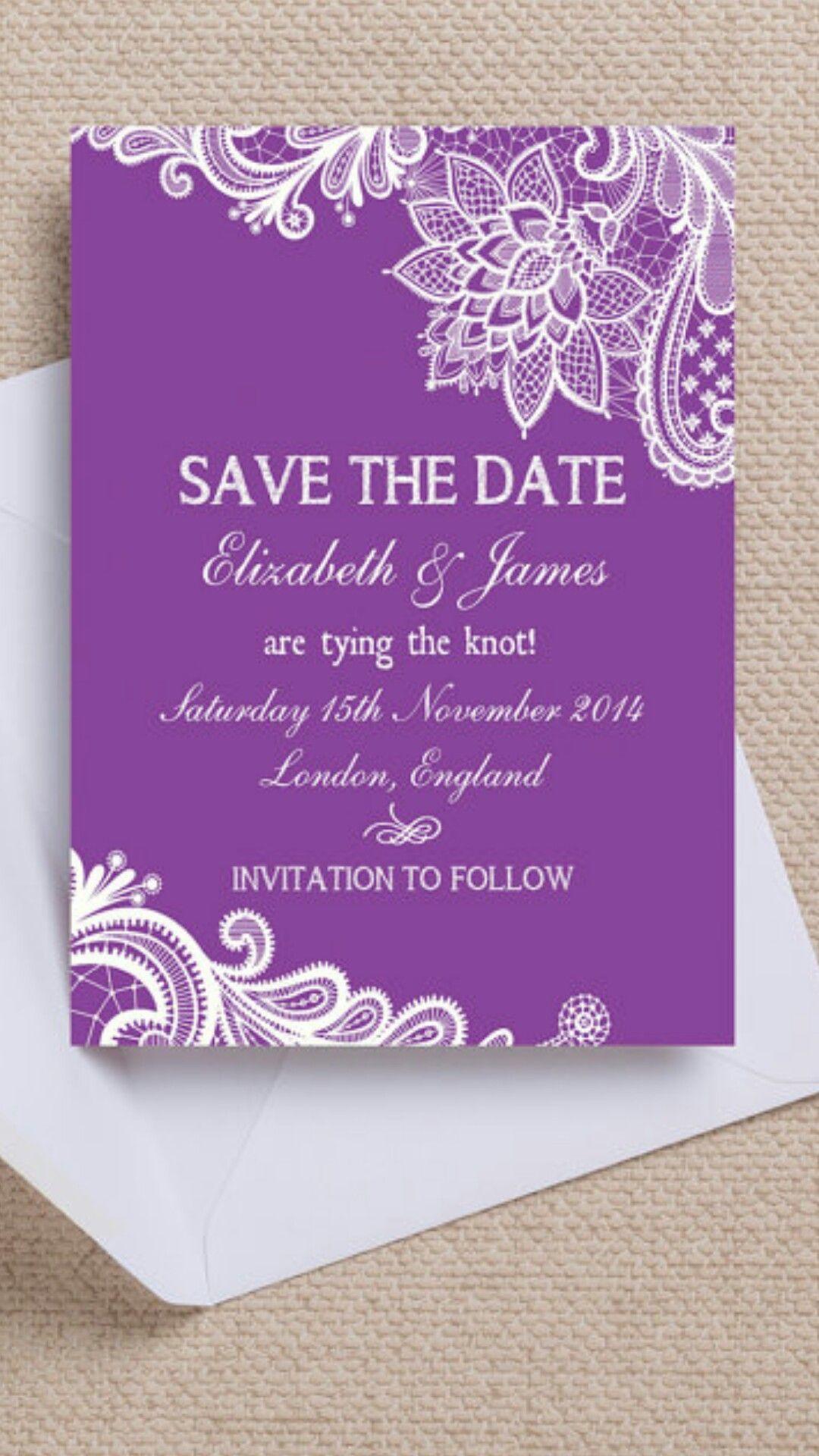 Purple u0026 White Vintage Lace Wedding Save