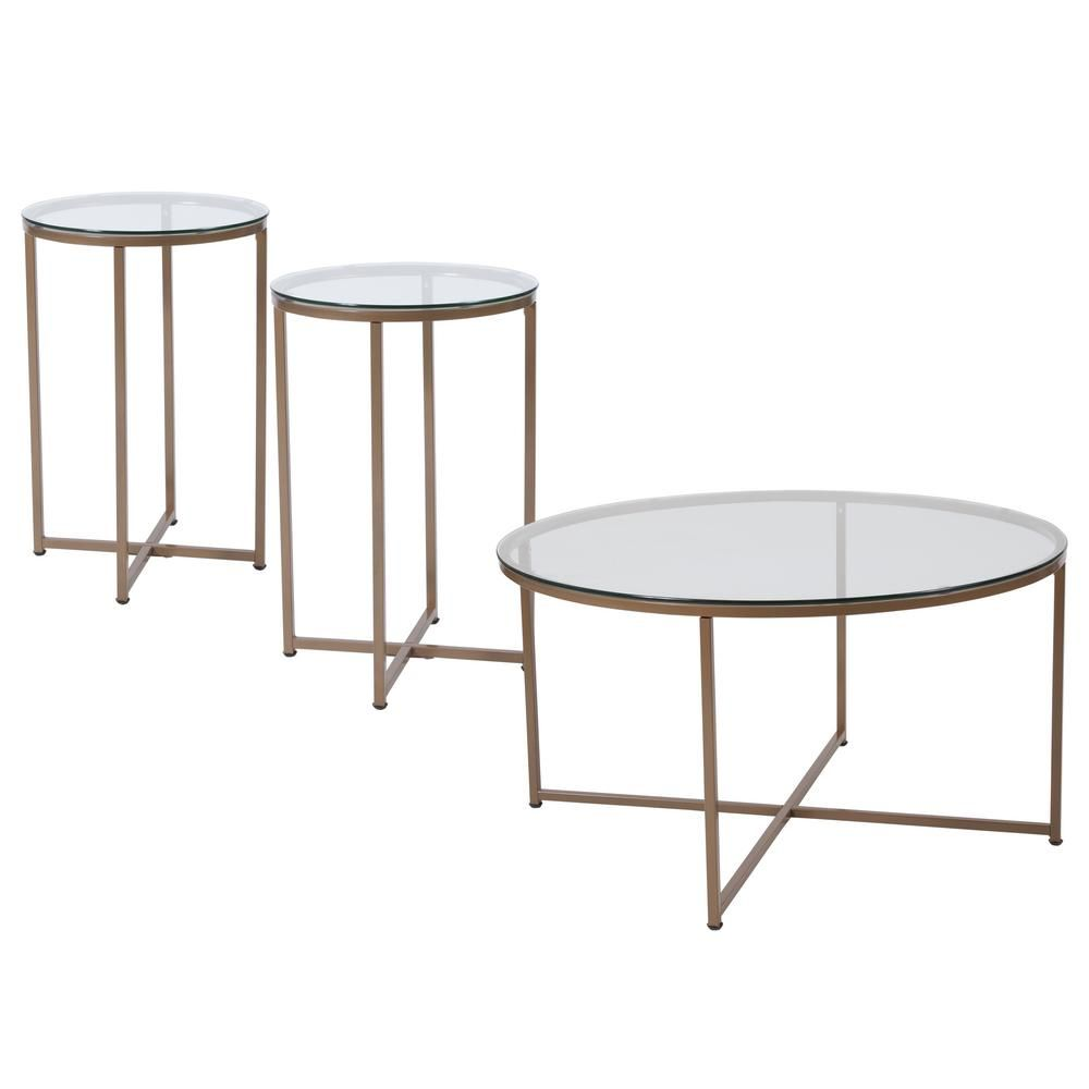 Flash Furniture Clear Matte Gold Coffee Table Glass Table Set 3