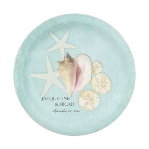 Beach Sea Ocean Shore Starfish Shell Wedding Party Paper Plate  sc 1 st  Pinterest : beach paper plates - pezcame.com