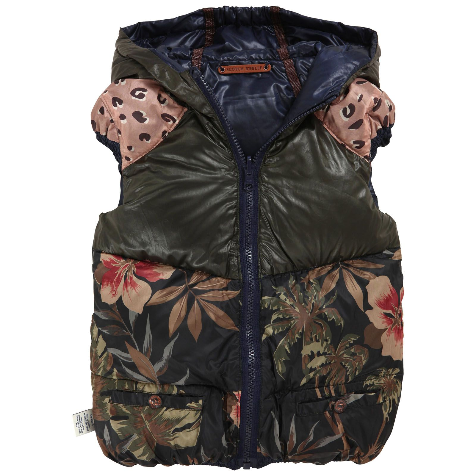 reversible sleeveless waterproof jacket one navy blue side and