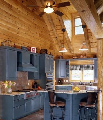 Log Home Kitchen With Gray Cabinetry