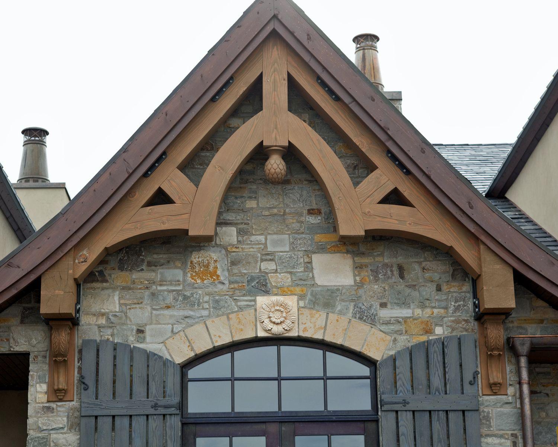 Heavy Timber Douglas Fir Gable Truss Custom Carved Final
