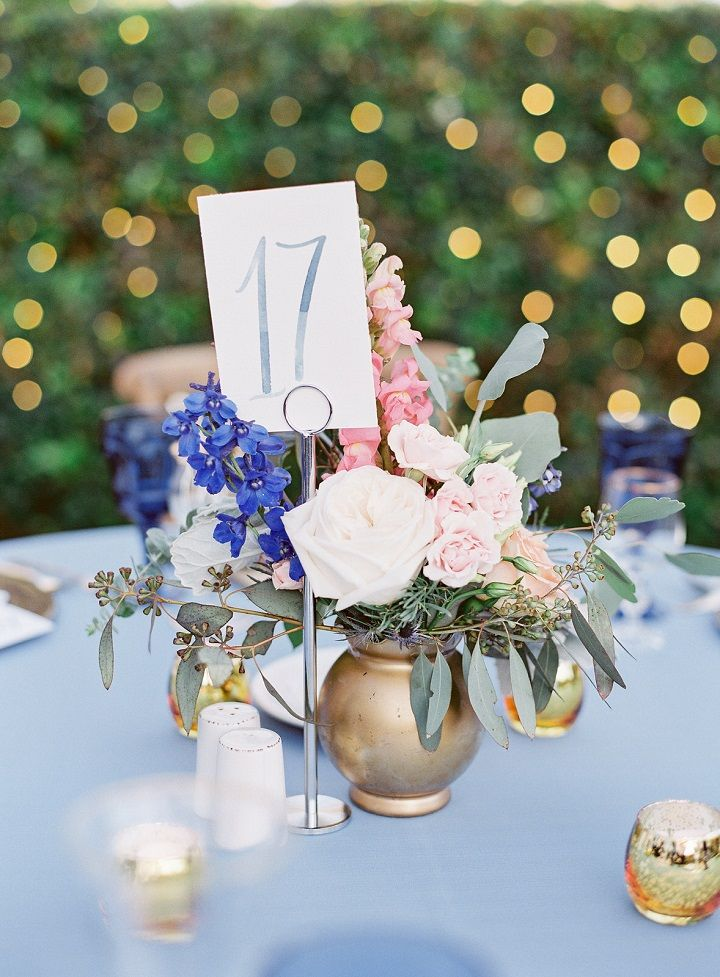 Wedding Centerpieces - The wedding palette of blue pink and gold for a romantic garden wedding & Al Fresco back yard wedding reception