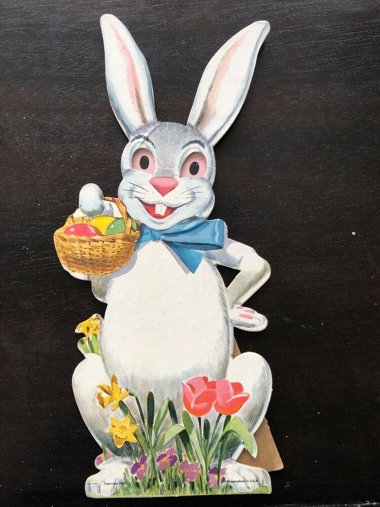 Vintage Cardboard Easter Bunny W Basket Eggs K Lith Lithographed