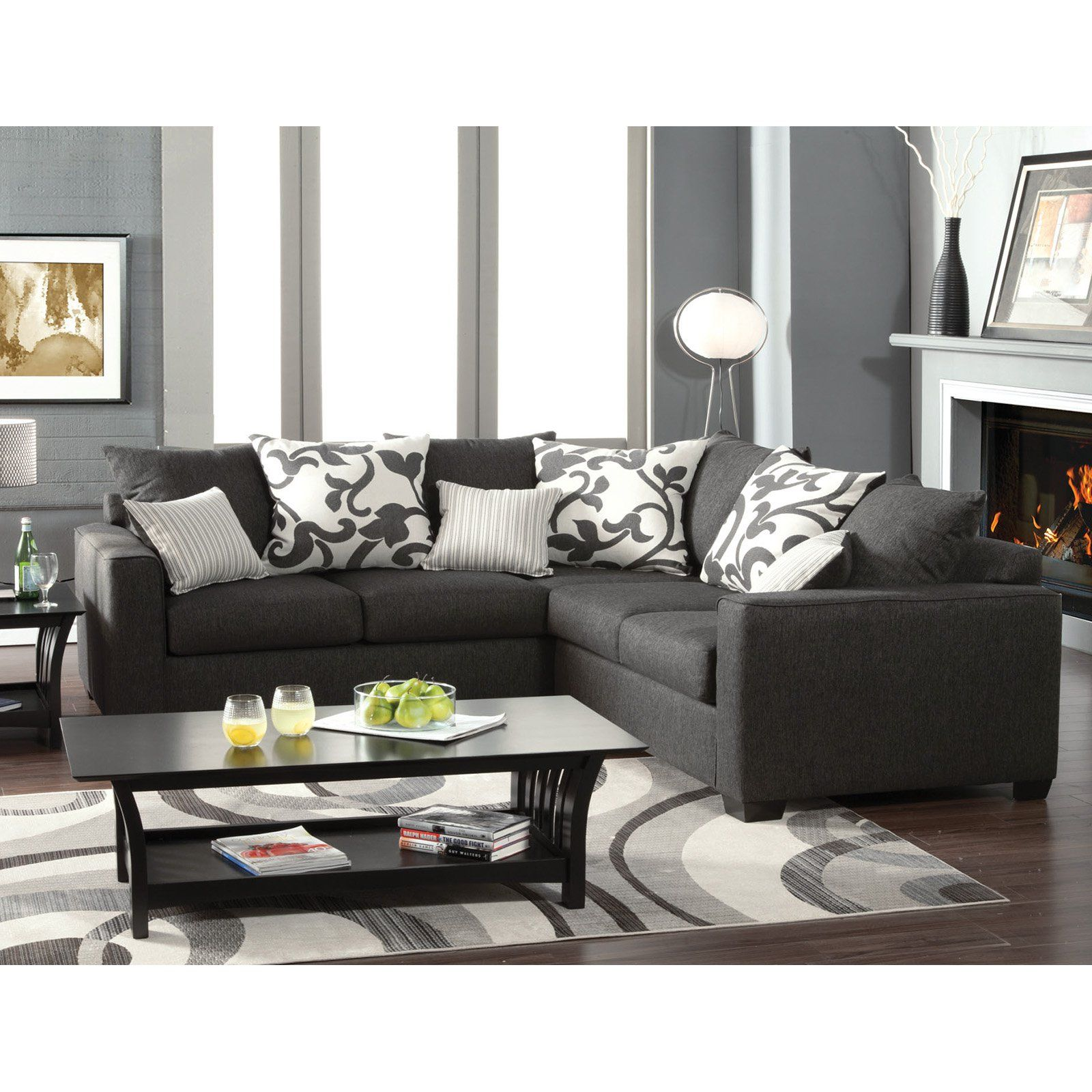 Furniture Of America Lleida 2 Piece Fabric Sectional Sofa