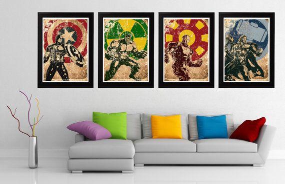 Marvel Avengers 4 Minimalist Poster Set, Captain America, Hulk, Iron