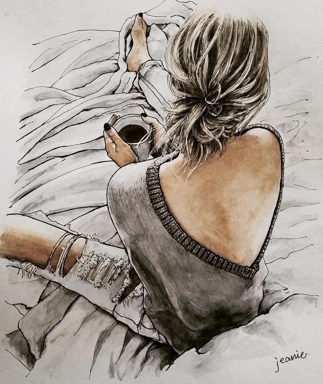 """Photo of Jeanie on Instagram: """". Back . . . . . . . . #drawing #painting #watercolor #pendrawing #art #artwork #illustration #sketch #back #knit #coffee #fashion #style…"""""""