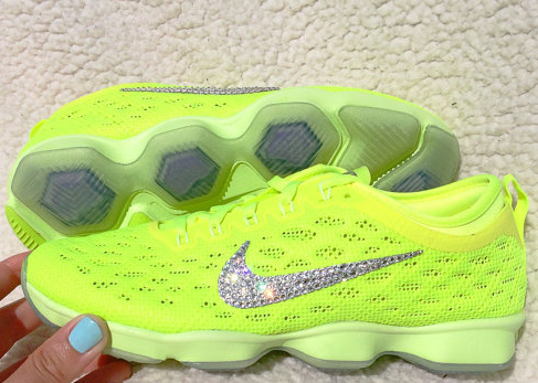 more photos 40f3a 21dd3 Over Half Off Swarovski Crystal Nike Zoom Fit Agility Bling Running Shoes  Volt Liquid Lime