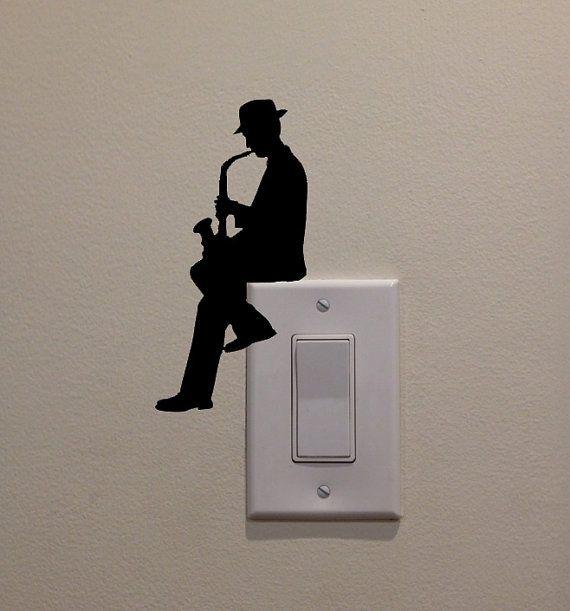 Man spielt Saxophon auf Light Switch (6,5 x3.2)-Schlafzimmer/Home Dekor Aufkleber #neuesdekor