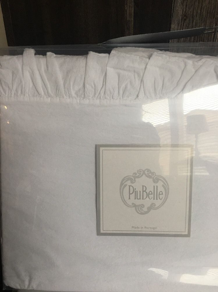 PIUBELLE RAW EDGE RUFFLE WHITE 100/% Cotton QUEEN Sheet Set