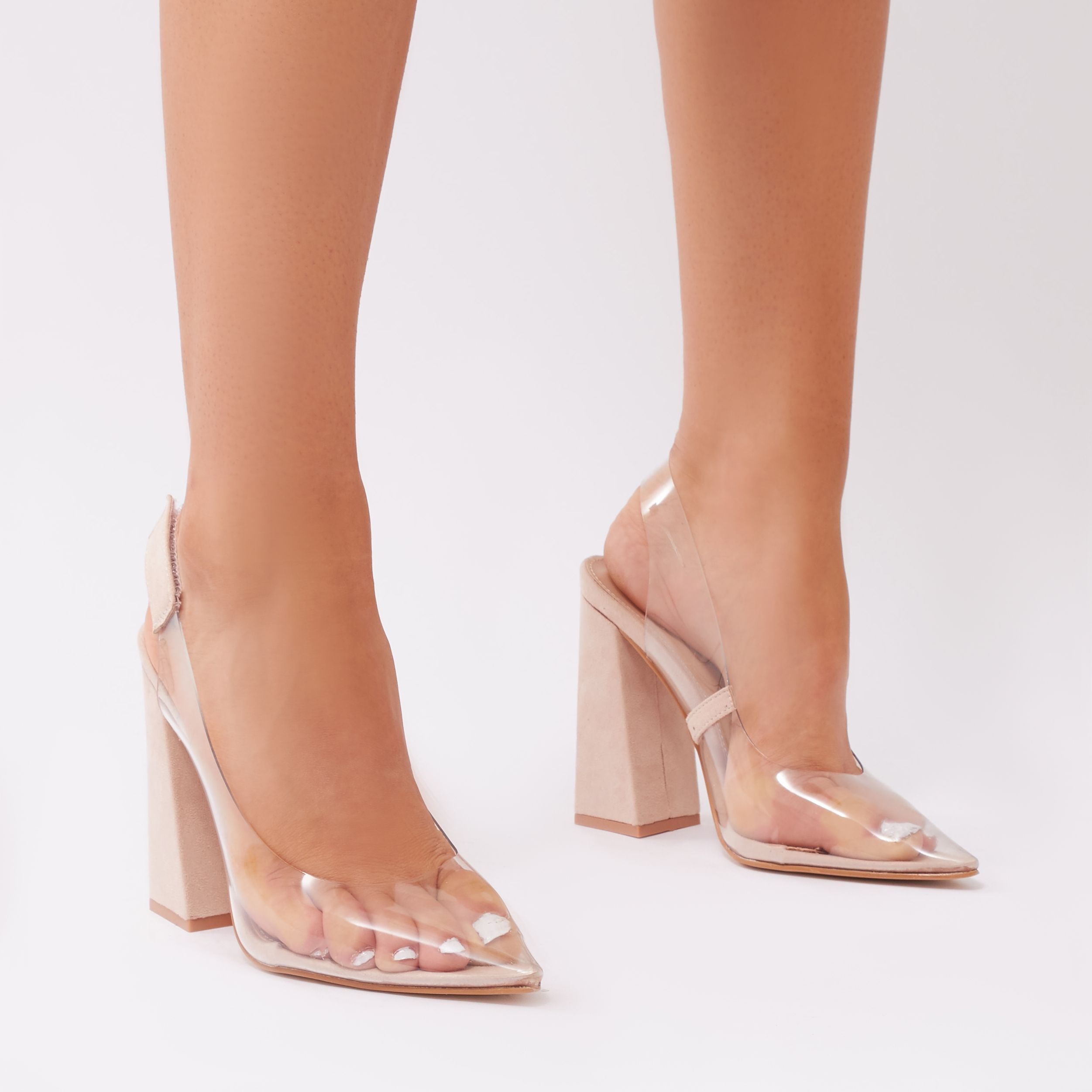 5cb58a3ae5e Lookin  for some heels that are totally extra ! Look no further these  perspex courts feature slingback and flared block heel. Channel Kim and  reach for ...