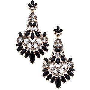 Blu Bijoux Gold Black and Crystal Chandelier Earrings | Jewelry ...