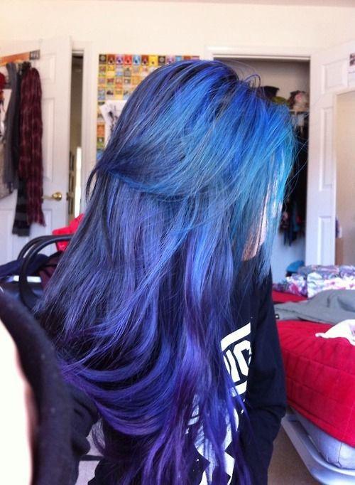 hair cute fashion y blue purple woman colored hair dyed hair ...