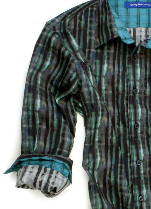 Georg Roth Liberty of London Print | Vibrant Emerald Teal and Navy, Liberty of London fantasy print. Teal and Navy plaid contrast inside the collar and cuff | Indigo 1745 - Dallas, TX