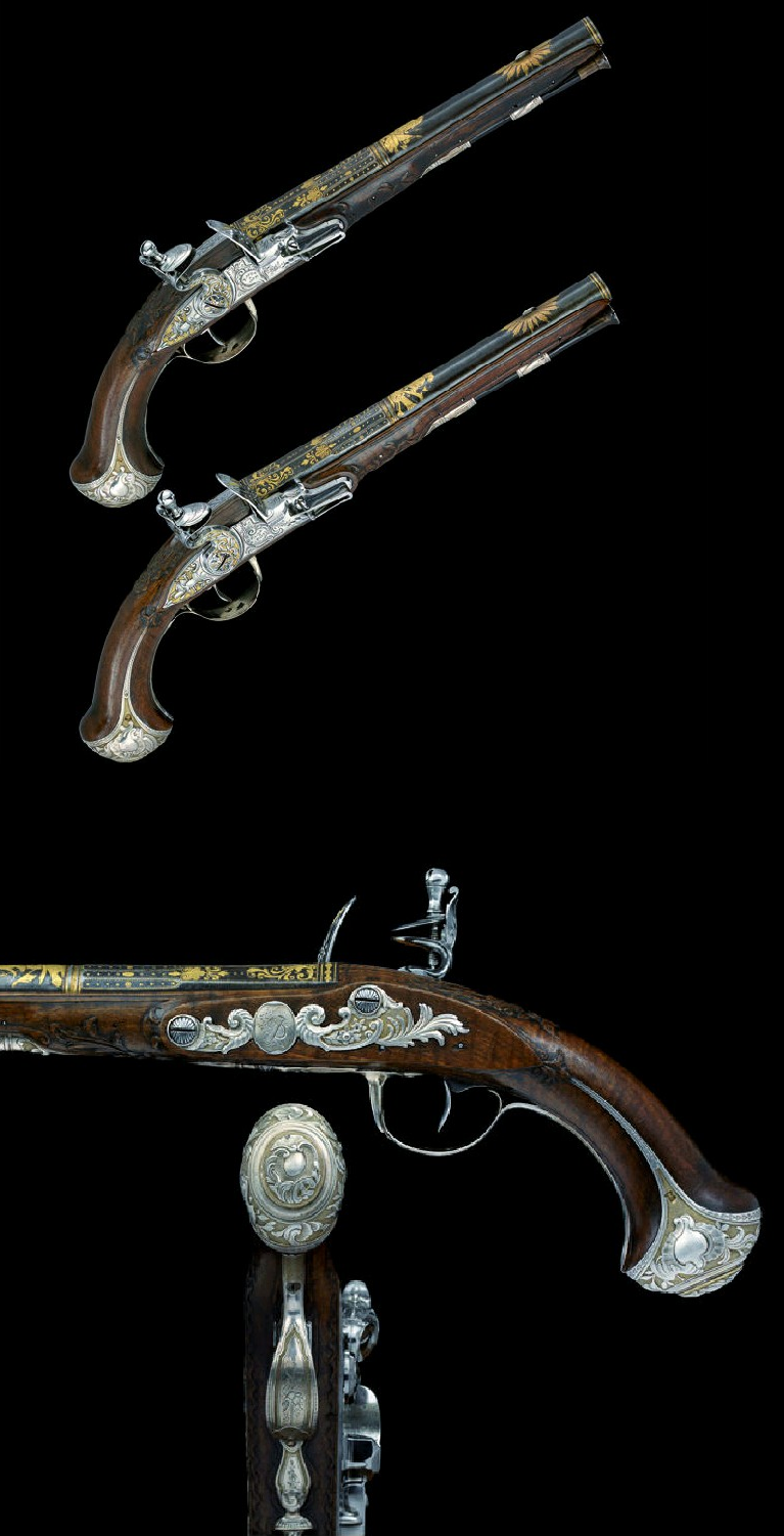 A FINE PAIR OF 25 BORE FRENCH SILVER-MOUNTED FLINTLOCK PISTOLS BY BARGE, PARIS CHARGE AND DISCHARGE MARKS FOR 1756-62, MAISON COMMUNE MARK FOR 1758